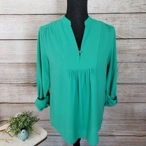 BRIXON IVY AQUA GREEN V-NECK L/S TOP - SMALL